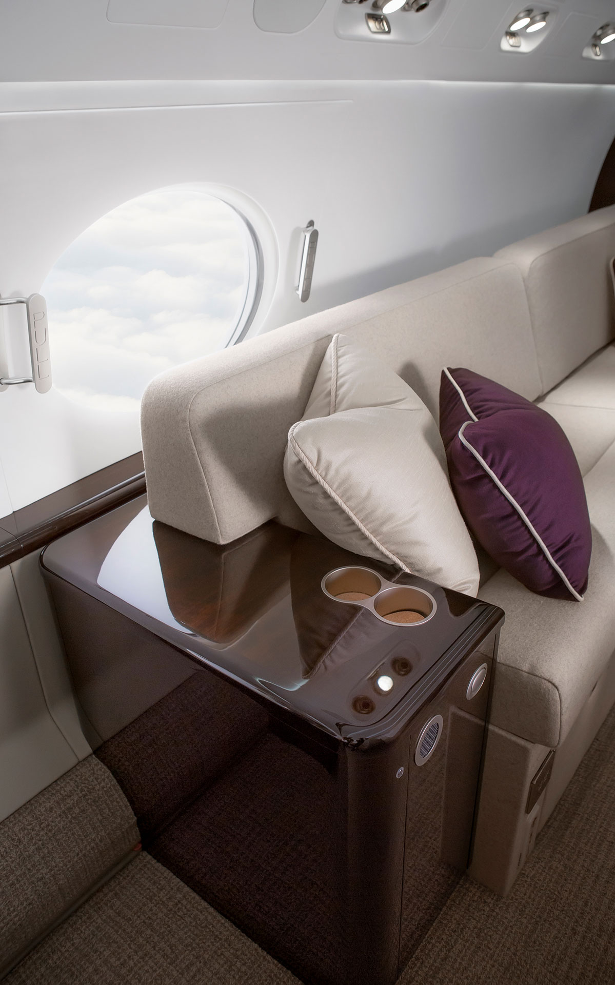 Leather couch in an aircraft interior