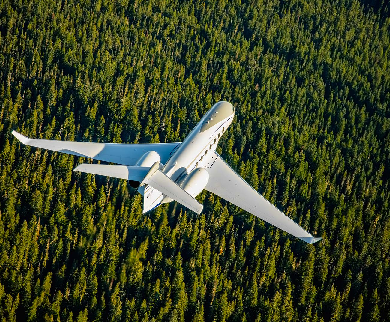 Gulfstream aircraft flying over green trees