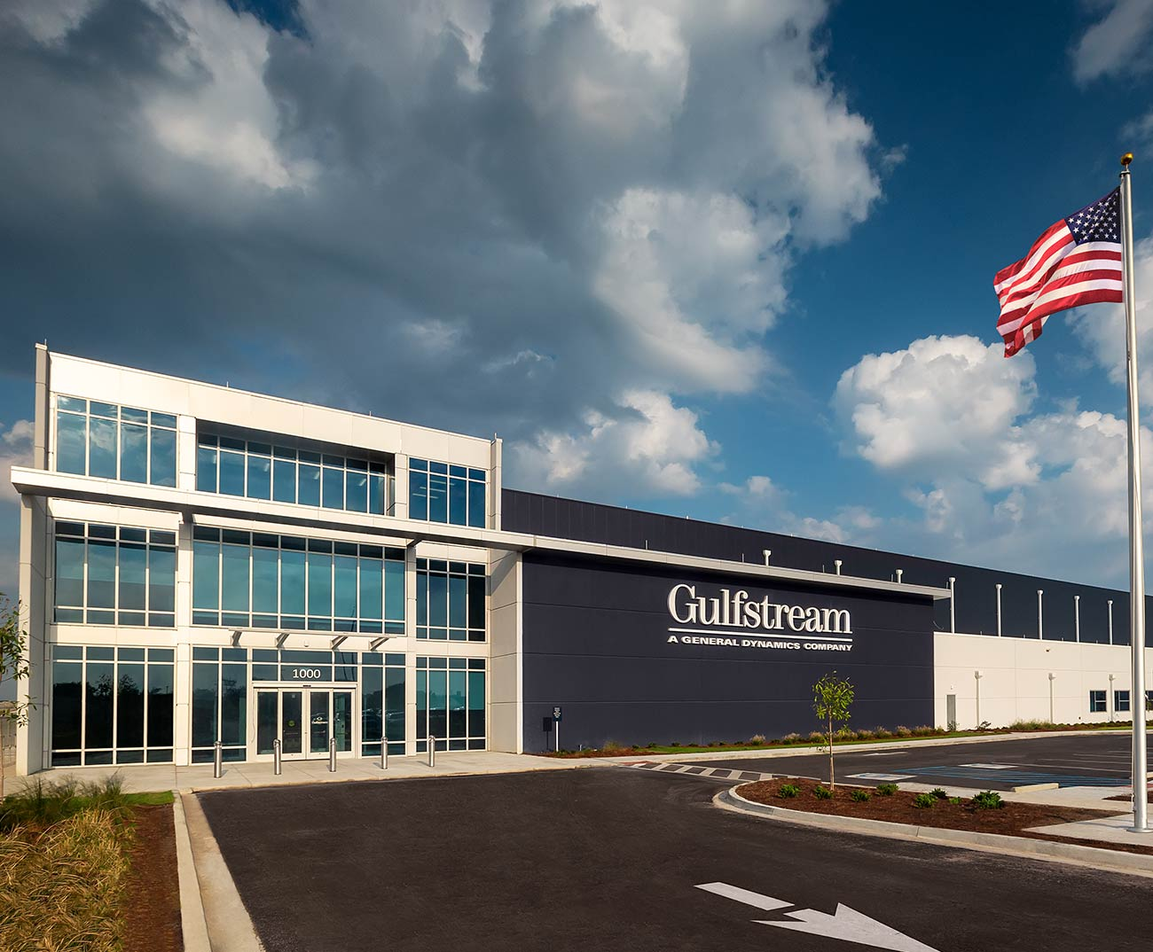 Exterior shot of a Gulfstream building