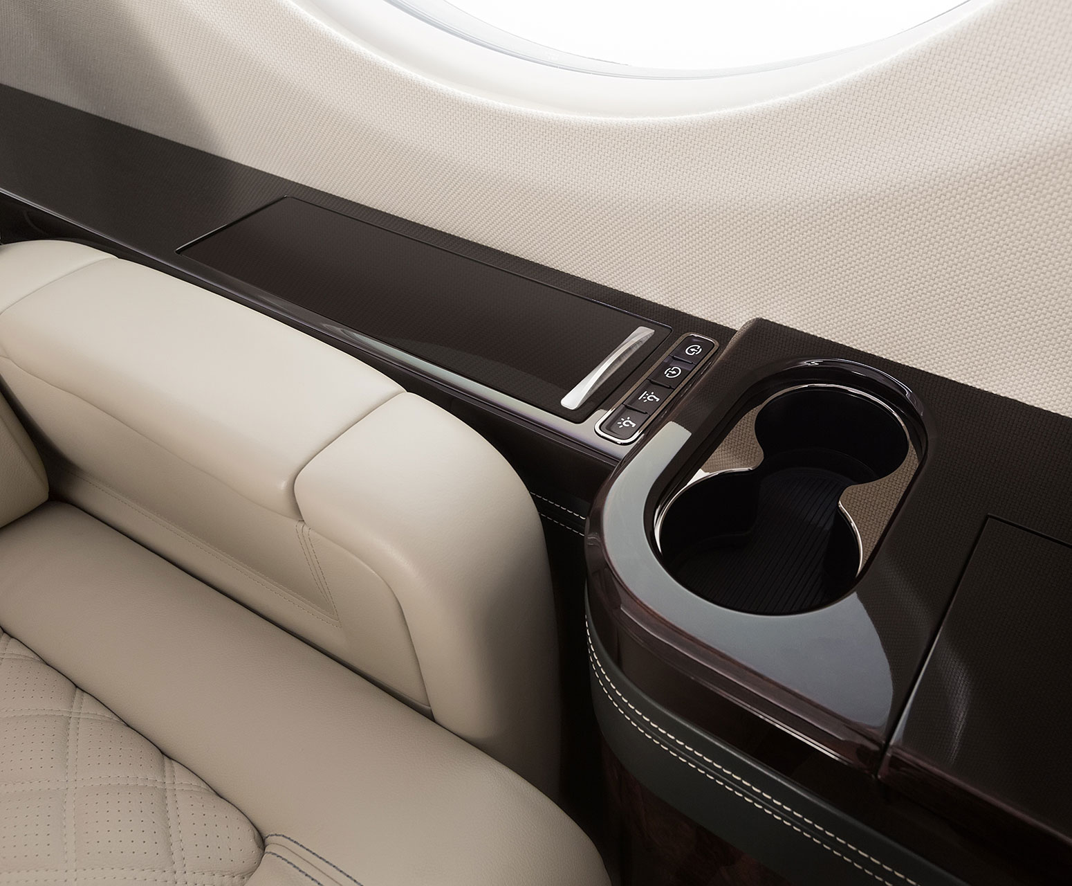 Gulfstream G500 leather seat and cup holder